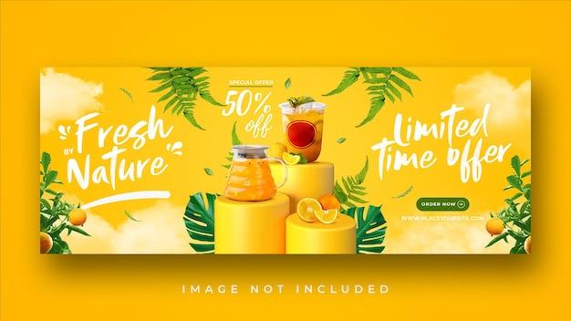 Modello di banner di copertina di facebook per promozione di menu di bevande salutari