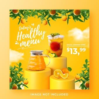 Modello di banner di post di instagram di social media di promozione del menu di bevande salutari