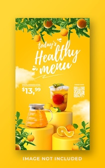 Modello di banner di storia di instagram di social media di promozione del menu di bevande salutari