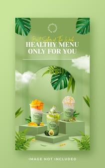 Modello di banner di storia di instagram di social media di promozione del menu di bevande sane