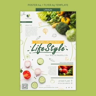 Modello di poster per uno stile di vita alimentare sano