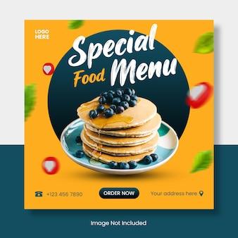 Banner di modello di post di instagram di menu di cibo sano