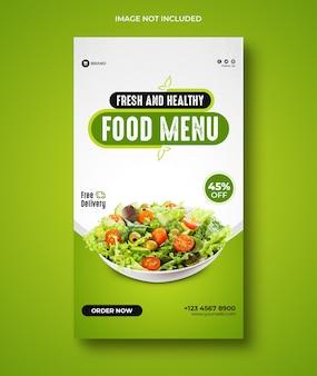Menu di cibo sano e storie di instagram del ristorante
