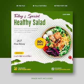 Menu di cibo sano e modello di post sui social media del ristorante gratuito