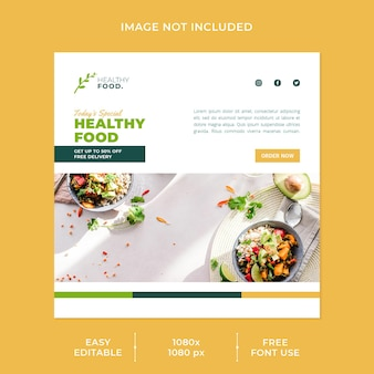 Modello di post sui social media del ristorante di menu e cibo sano
