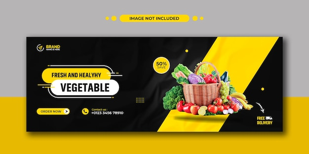 Promozione di ricette di cibo sano post instagram sui social media e modello di banner web