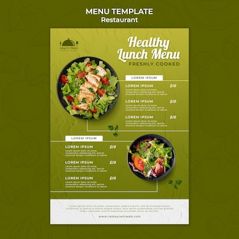 Modello di menu del ristorante di cibo sano