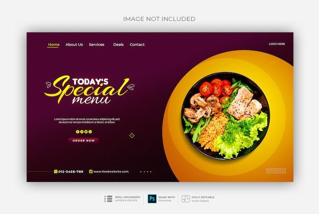 Modello di banner web cibo o ristorante sano
