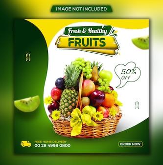 Cibo sano social media di verdure e generi alimentari post instagram e modello di banner web