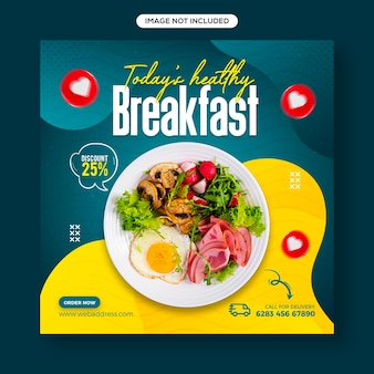 Social media per alimenti e verdure sani e modello di banner per post su instagram
