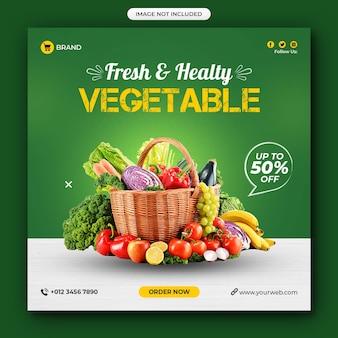 Post di social media di verdure di cibo sano