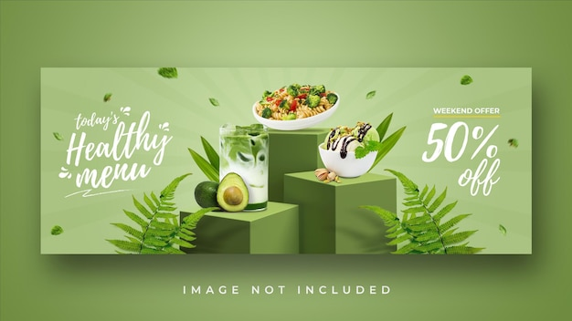 Modello di banner di copertina di facebook promozione menu sano