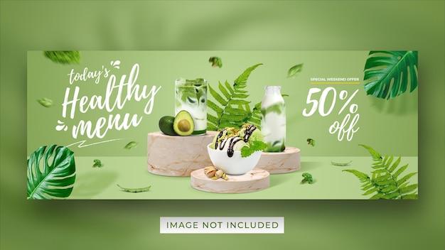 Modello di banner di copertina di facebook di social media di promozione del menu sano