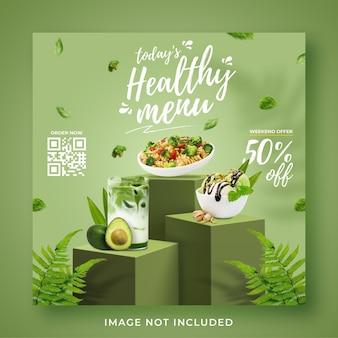 Modello di banner post instagram di social media di promozione del menu sano