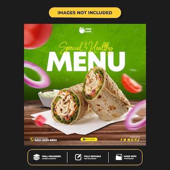 Modello di banner post instagram per la promozione del menu sano sui social media