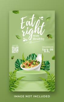 Modello di banner di storia di instagram di social media di promozione di menu sani Psd Premium
