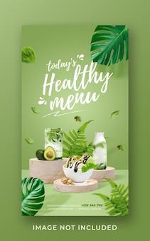 Modello di banner di storia di instagram di social media di promozione di menu sani