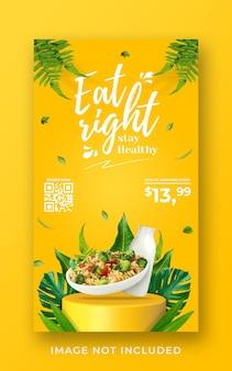 Modello di banner di storia di instagram di social media di promozione del menu sano