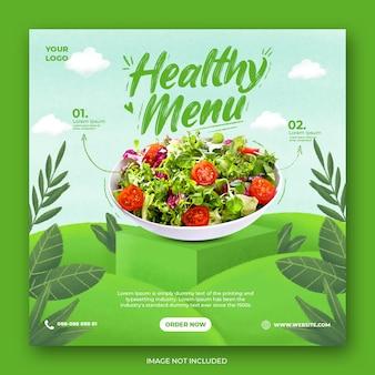 Modello di instagram di social media di promozione del menu sano