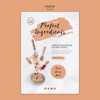 Modello di poster di ricette sane