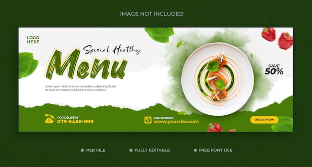 Modello di banner di copertina di facebook per la promozione di ricette di alimenti vegetali sani