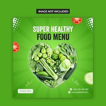 Social media di cibo vegetale sano e modello di post di instagram
