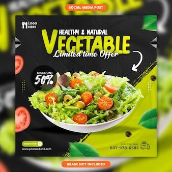 Social media vegetale sano e modello di post di instagram