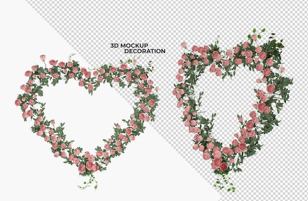 Decorazione interna del fiore del cuore isolata