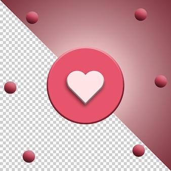 Media sociali dell'icona del cuore come 3d isolato