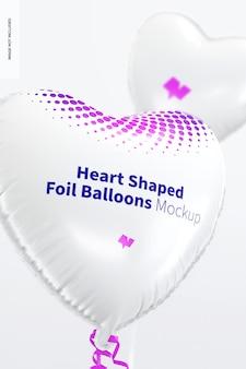 Mockup di palloncini stagnola a forma di cuore, da vicino