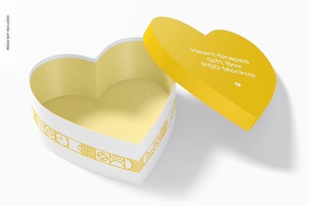 Mockup di scatola regalo a forma di cuore, aperto