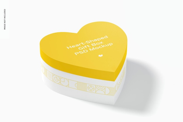 Mockup di scatola regalo a forma di cuore