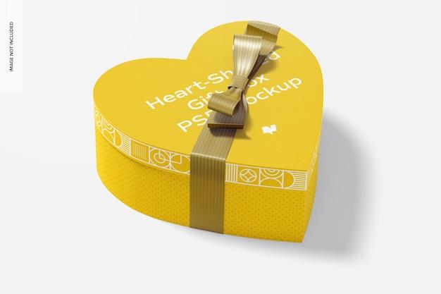 Confezione regalo a forma di cuore con mockup di nastro di carta