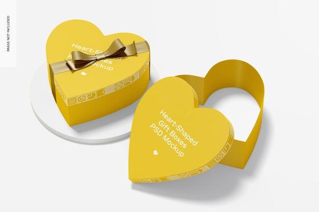 Scatole regalo a forma di cuore con mockup di nastro di carta, aperte e chiuse