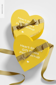 Scatole regalo a forma di cuore con mockup di nastro di carta