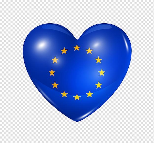 Cuore con bandiera dell'unione europea