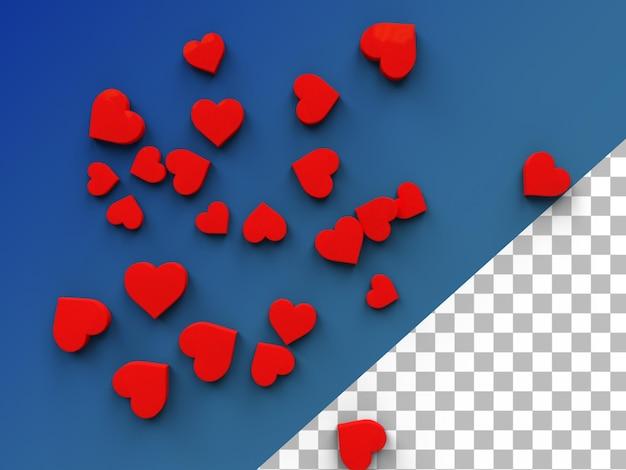 Cuori emoji amore 3d rendering isolato