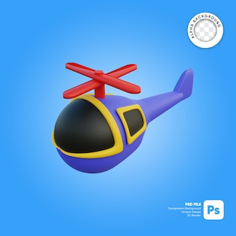 Elicottero che vola in stile cartone animato oggetto 3d dall'aspetto frontale