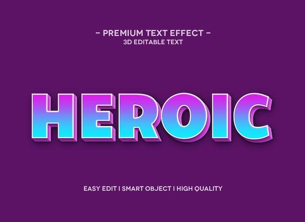 Modello di effetto stile testo 3d eroico