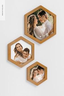Mockup di cornici per foto da parete esagonali