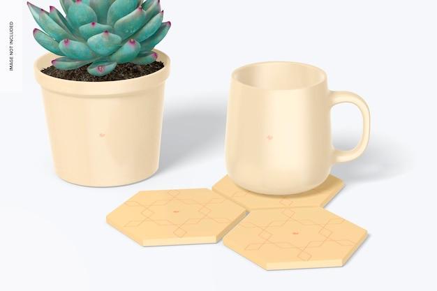 Sottobicchieri esagonali con mockup di vasi per piante