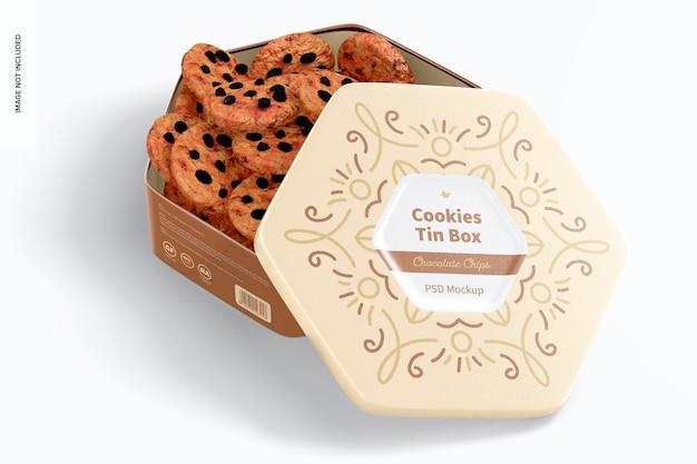 Mockup di scatola di latta per biscotti esagonale, aperto
