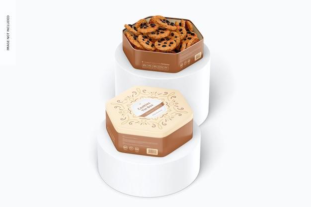 Mockup di scatola di latta per biscotti esagonali, su podio