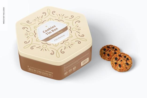 Mockup di scatola di latta per biscotti esagonali