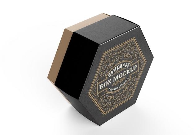 Mockup di scatola kraft esagonale
