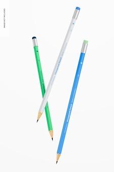 Mockup di matite esagonali, fluttuanti