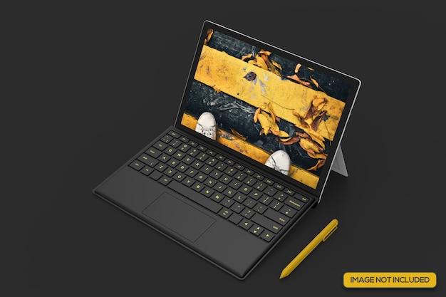 Colpo di alto angolo di mockup tablet realistico