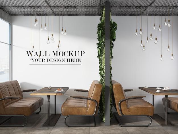 Mockup del muro del ristorante dell'autostrada