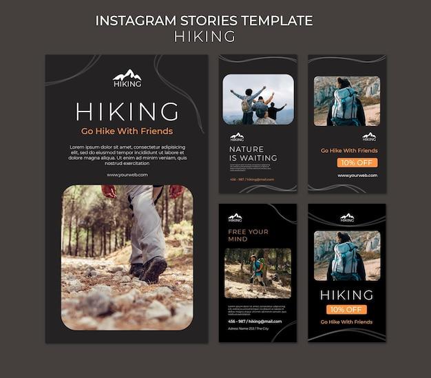 Modello di storie di instagram annuncio di escursionismo