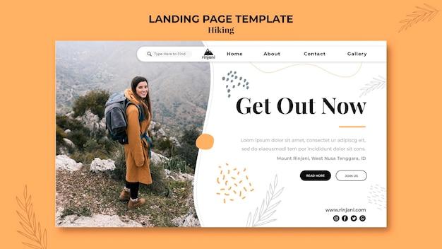 Modello di pagina di destinazione avventura escursionistica